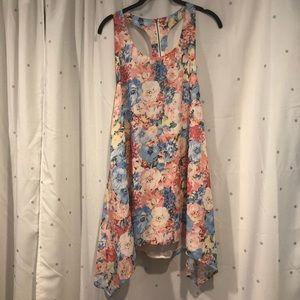 Floral summer dress, mini, open back, backless